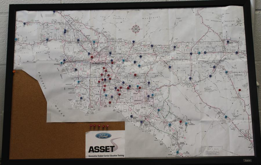 A map that sits in Jon Bender's office, made by Bender himself. This is used to show ASSET students where the nearest dealerships are to their location. Photo credit: Lauren Torres