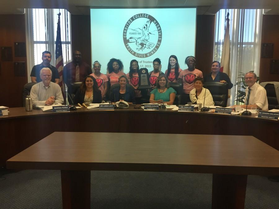 The women's track and field team was recognized by the Board of Trustees for a state championship win. The team holds 14 top 5 marks while simultaneously obtaining the greatest total GPA of all of teams on campus Photo credit: Karla Enriquez