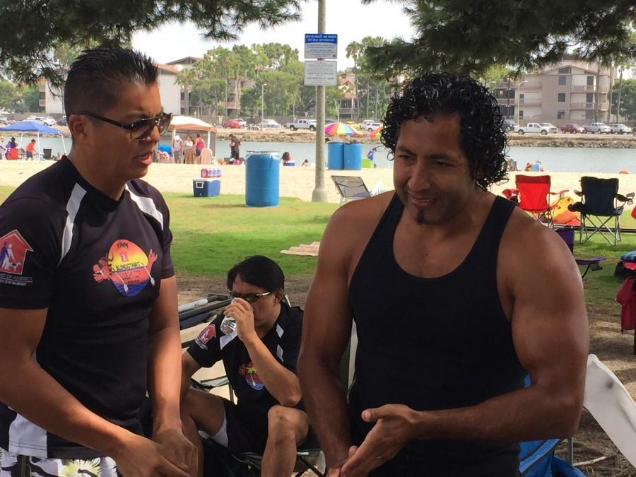 Joel Senteno and CEO of BLINDSTART Brian Tom discussing the agenda for the weekly practice.