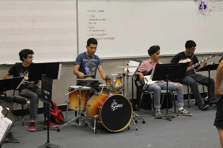 With only two more practices left, the Cerritos College Jazz Ensemble practices their setlist. They practice every Wednesday night from 7 p.m to 9:30 p.m.