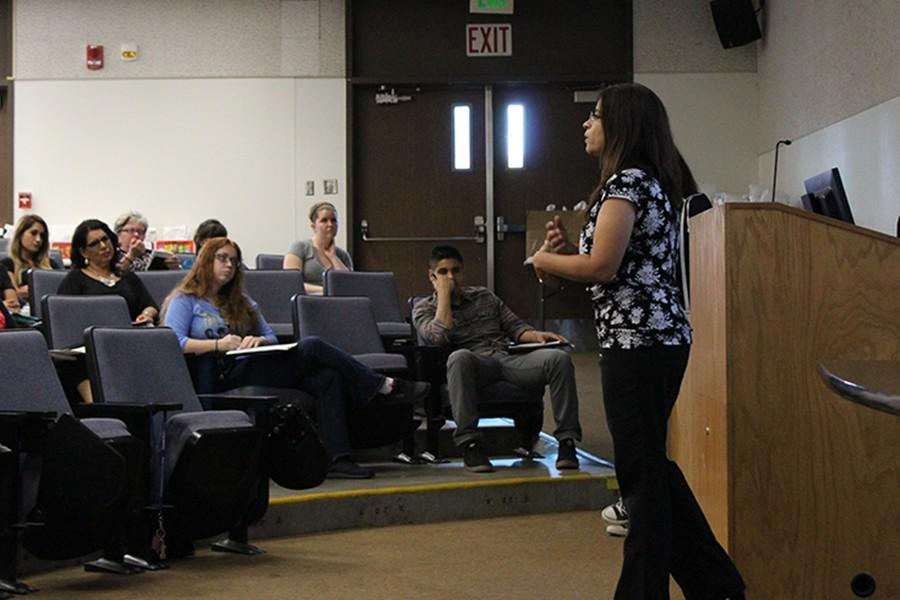 Amna Jara, coordinator of Student Activities, speaks to the various clubs during the advisor luncheon. She further elaborated on the changes that will be seen with the homecoming budget cut. Photo credit: Vanessa Villasenor