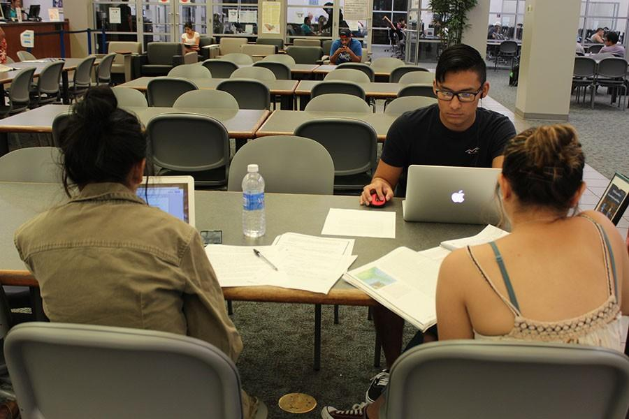 Juan Herrera, Film major, Ashley Salazar, Nursing major, and Angela Nuñez, Psychology major work on their respective assignments at the school library. The library will be available on Saturdays for the first time since 2008. Photo credit: Karla Enriquez
