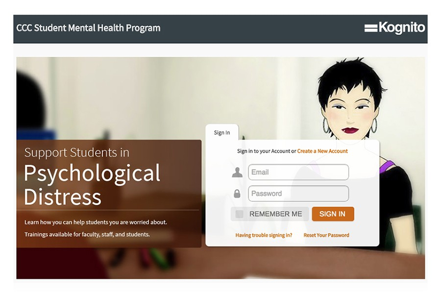 "Screen shot from the ccc.kognito.com website. The Kognito ""at risk"" training program trains students to recognize signs of mental illness. The program is offered free of charge for community college students."