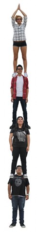 Photo Illustration depicts students staking ontop of each other. It is a metaphor for the increase in student enrollment.