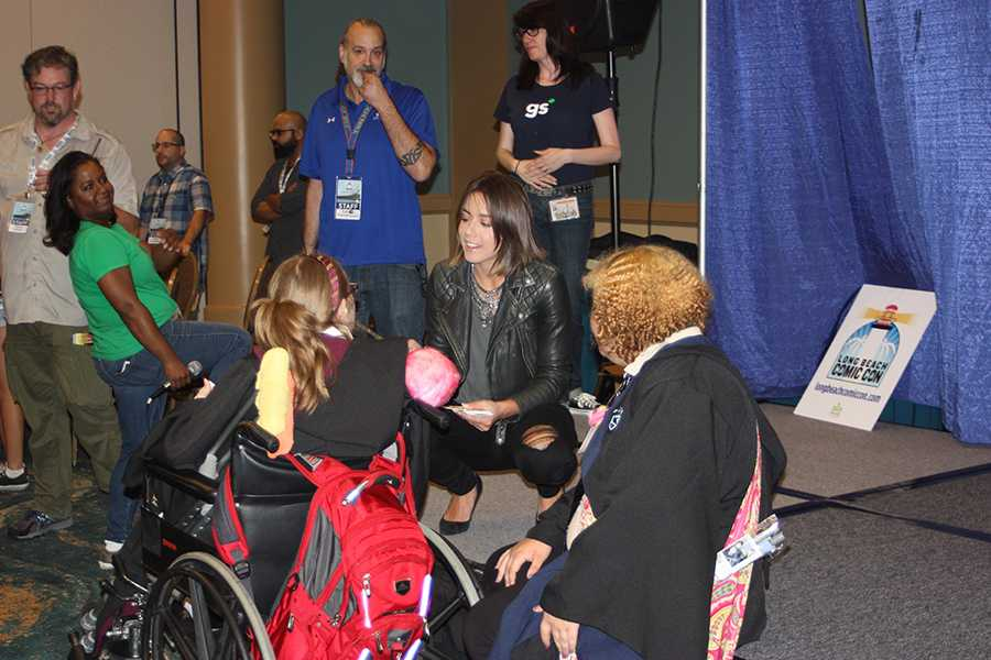 Actress Jessica DiCicco greeting fans at Long Beach Comic Con. DiCicco is the voice actor for Flame Princess on Cartoonetowork's Adventure Time Photo credit: Armando Jacobo