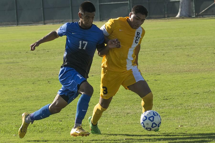 Captain Christian Carrillo (left) killin' it against a defender from Rio Hondo. The end score of the game was 4-2 in favor of Rio Hondo Photo credit: Kevin Cruz
