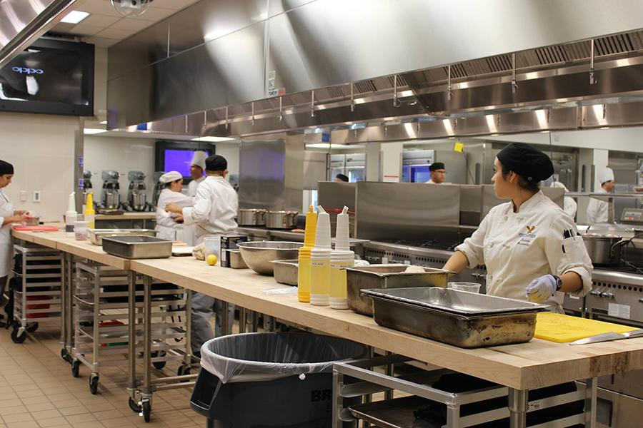 Cerritos College culinary arts students settle in to the newly renovated area. The culinary arts department will host their grand opening event on Wednesday, Oct. 7 from 4 p.m. to 6 p.m. Photo credit: Karla Enriquez