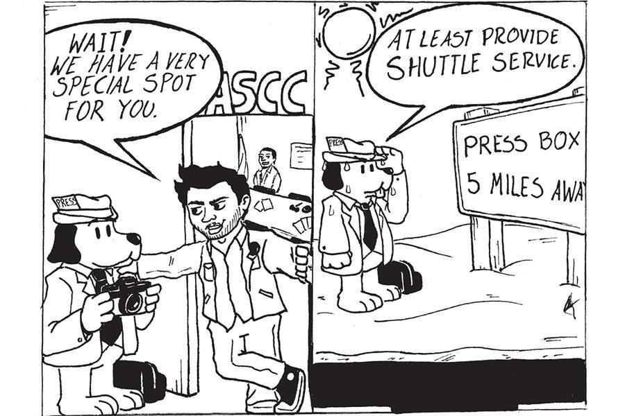 A cartoon regarding the discrimination of ASCC leaders towards journalists of Talon Marks Photo credit: Carlos Marquez