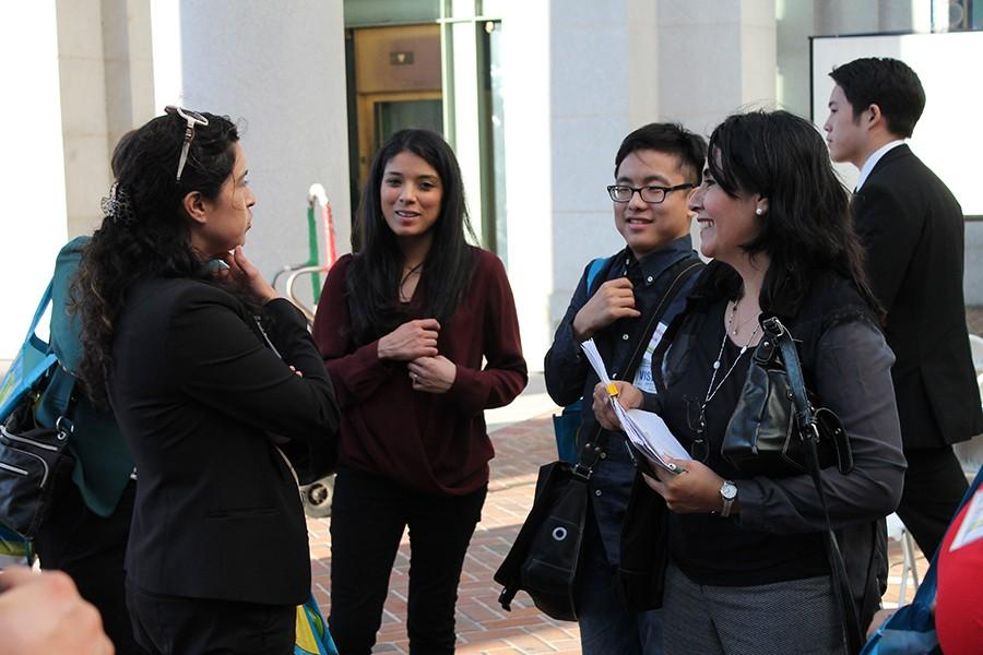 Disabled Students Program and Services Counselor Aurora Segura (far right) and culinary arts major Joshua Kwak, (right) speaking to his mentor Claudia Macias (far left), a DSPS counselor at Los Angeles Trade Tech College. Kwak said he enjoyed his time with his mentor.