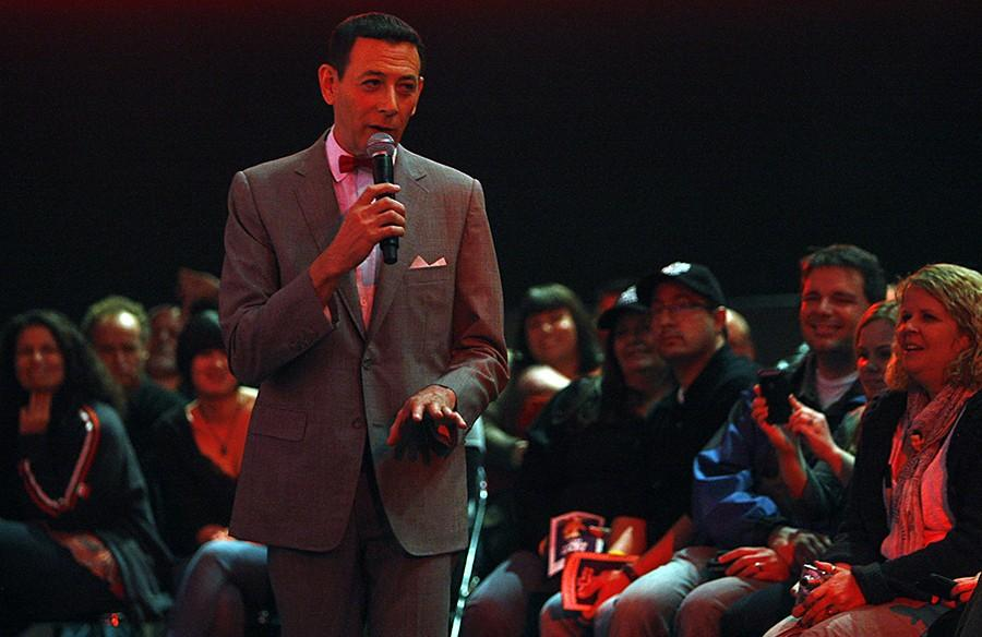 Pee-wee Herman interacts with members of the audience following his stage show, January 24, 2010, at Club Nokia in Los Angeles, California. (Luis Sinco/Los Angeles Times/MCT)