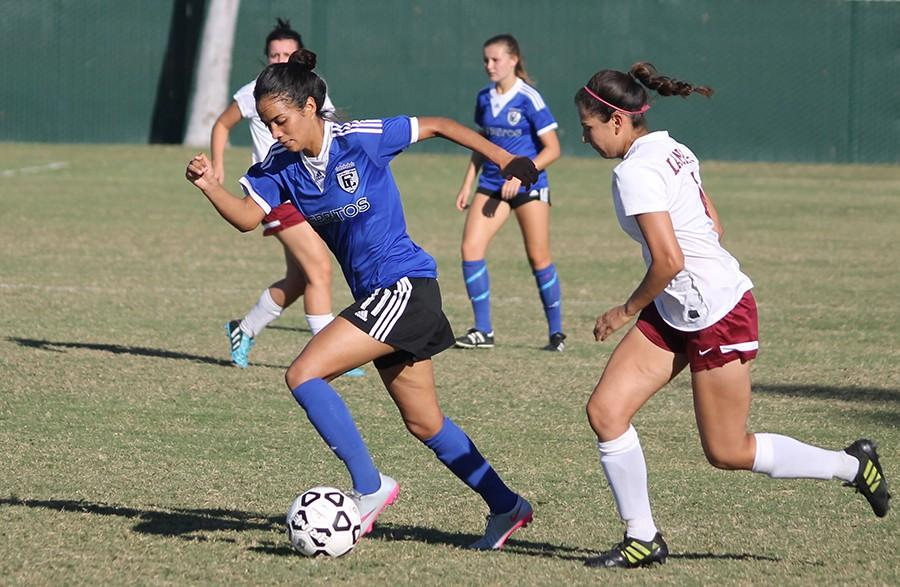 "Forward Carolina Jaramillo led the Falcons to victory, scoring 3 of the 6 goals. She said, ""I'm starting to get more comfortable with the team."""