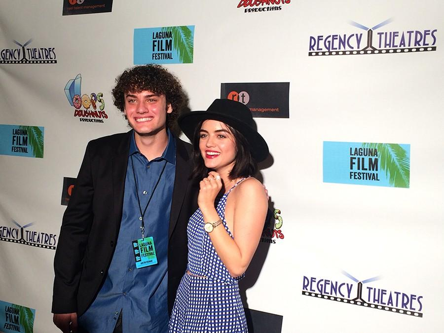 Laguna Film Festival founder Austin Fickman introduces actress Lucy Hale to guests and fans in attendance.