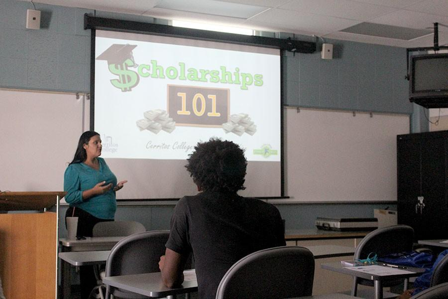 Veronica Castro informed students about scholarships and how to properly apply for them. The workshop took place on Thursday, Oct. 22. Photo credit: Frank Rodarte