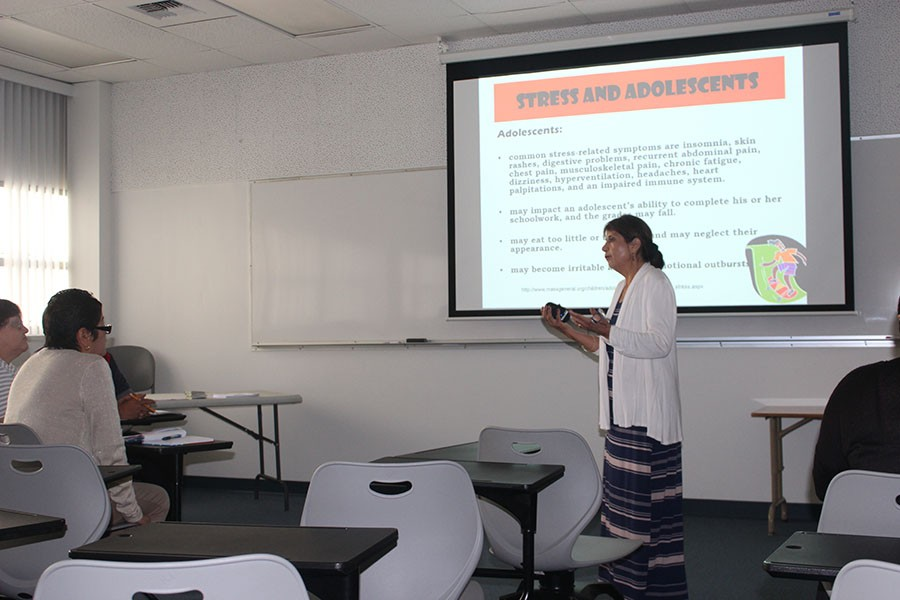 Department of Mental Health bring in Maria Cevallos to educate students on the subject of stress. Students and faculty come together to learn the different causes, symptons, and treatments to deal with stress.