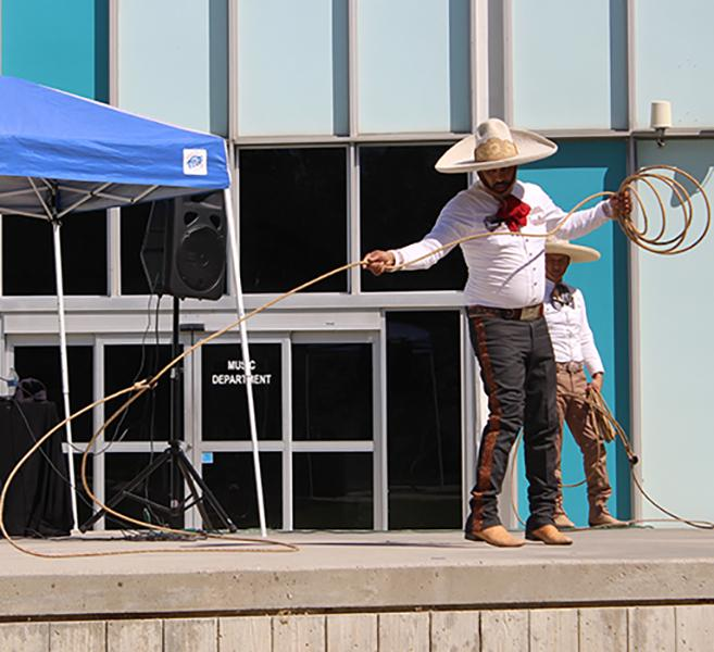 On Thursday, Oct. 1, Cerritos College continued its Hispanic Heritage month celebration. This time Romero Gurrulo, charro, performed a Mexican dance called a charreria at the stage in Falcon Square. Photo credit: Grester Celis-Acosta