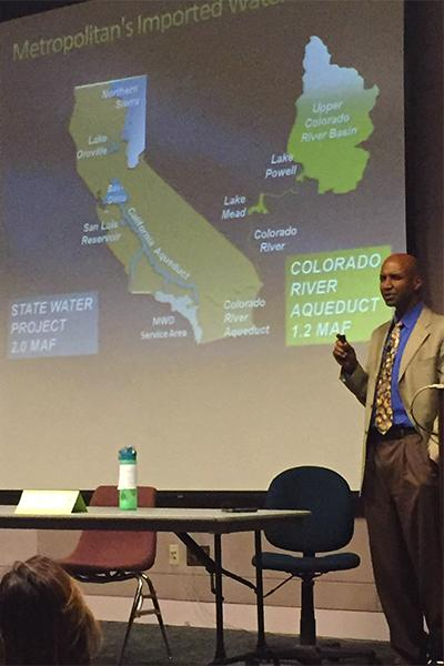 ASCC Go Green club presents GreenFest, with a special lecture from Dr. Adrian Hightower representing The Metropolitan Water District of Southern California. Hightower presents graphs showing the conditions that are causing the serious drought in California. Photo credit: Ethan Ortiz