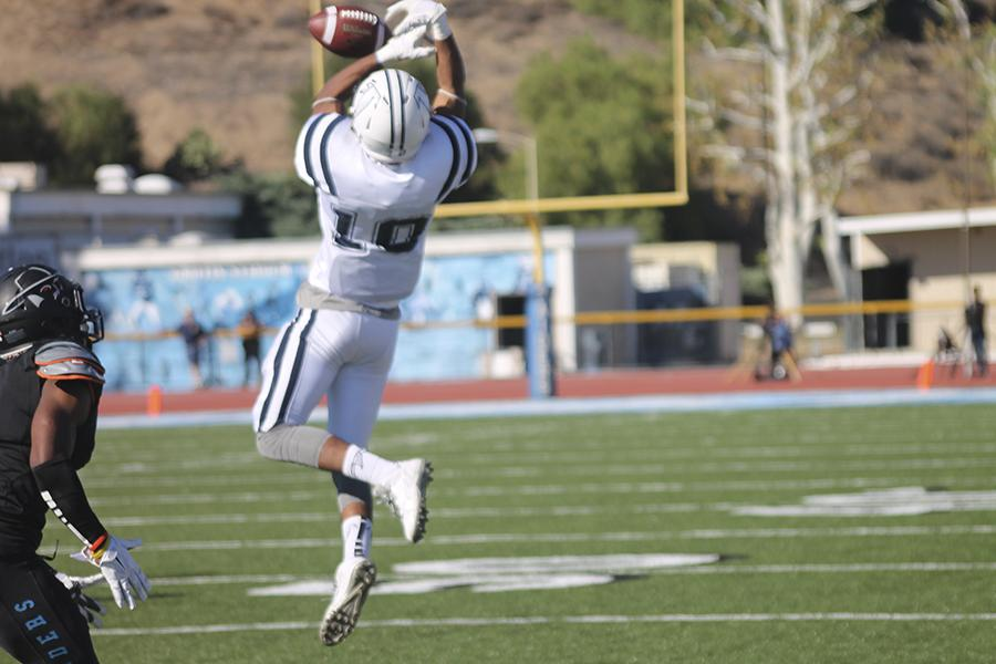 Quarterback Jimmy Walker (not pictured) and Steven White couldn't connect on the pass. This was one of the many mental mistakes made by Cerritos College. Photo credit: Briana Hicks