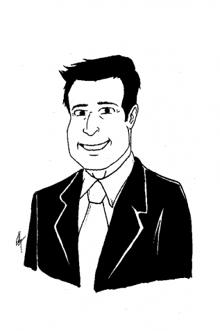 Cartoon of Cerritos College president Jose Fierro. Clicking on this image will take you to an interactive experience with the other board of trustees.