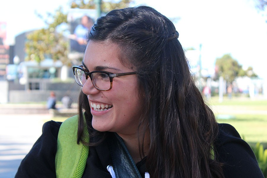 """""""There is two artist i would go for, well one is a band the other is an artist. The band would be Mumford and Sons because that is my all time favorite band. Then the artist would be Adele because her music has a lot of meaning to it,"""" Vanessa Acosta, math major. Photo credit: Vanessa Villasenor"""
