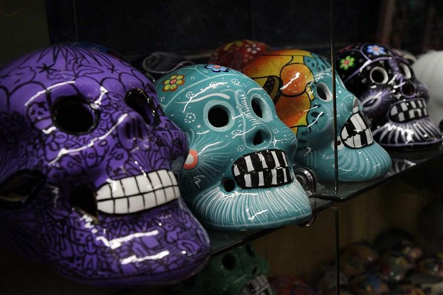 Items for Mexico's traditional Day of the Dead are for sale in Olverita's Village in Olvera Street in Los Angeles, California. (Lawrence K. Ho/Los Angeles