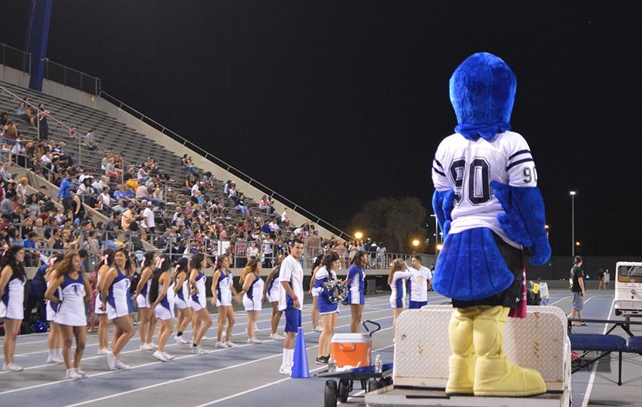 Franco Falcon animates the crowd during the Homecoming game. ASCC Senate approved to have his pay reinstated to $14.32  after last year's senate cut it to $9.93. Photo credit: Karla Enriquez