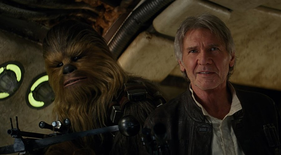 """Peter Mayhew and Harrison Ford in """"Star Wars: The Force Awakens."""" (Photo courtesy Lucasfilm/TNS)"""
