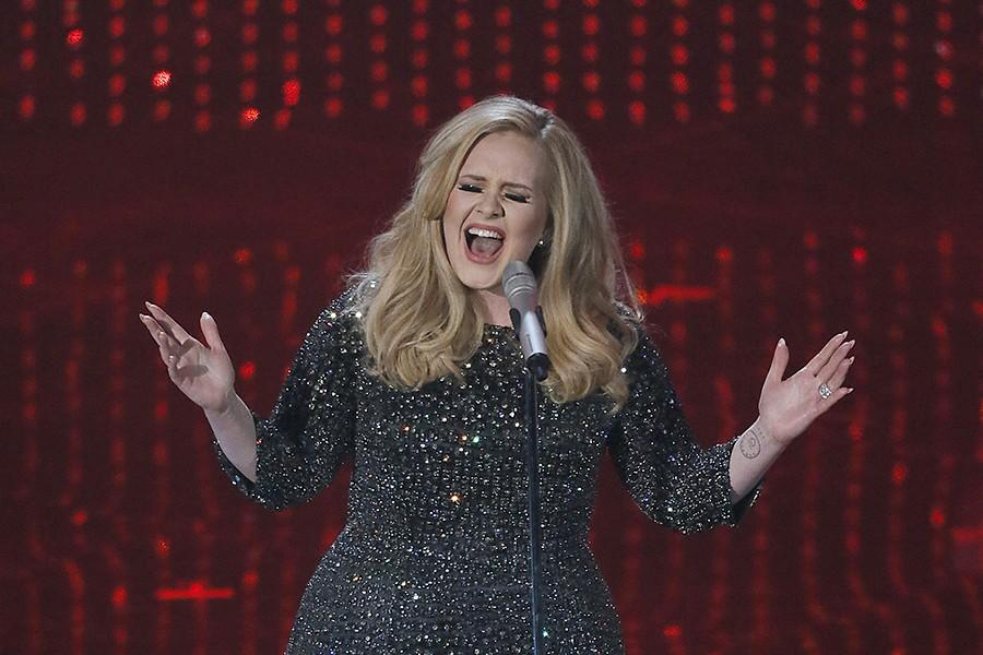 Adele sings during the show at the 85th annual Academy Awards at the Dolby Theatre at Hollywood & Highland Center in Los Angeles, California, Sunday, February 24, 2013. (Robert Gauthier/Los Angeles Times/MCT)
