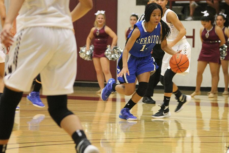 Sophomore, Janel Oliver, begins her break away through the Mt. SAC defense, in Friday nights game. Photo credit: Monique Nethington