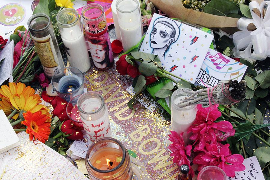 David Bowie fans leave candles, bouquets of flowers, fan art and handwritten notes on his Hollywood Star located off Hollywood Boulevard and Sycamore Street. Bowie passed away on January 10 from liver cancer. Photo credit: Bianca Salgado