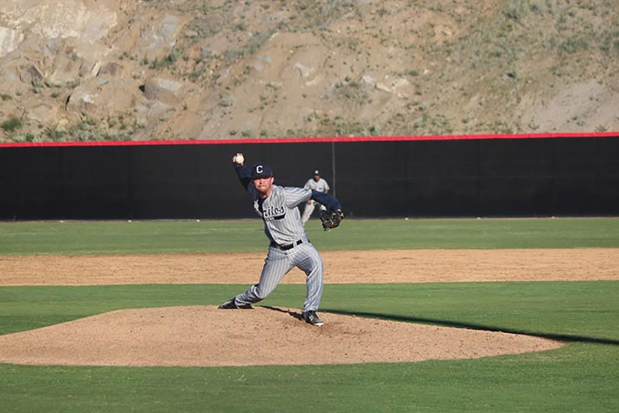 Jerald Johnston throws the final strike of the game to pick up his second save in as many games. Johnston struck out four Palomar batters in two innings pitched. Photo credit: Taylor Ogata