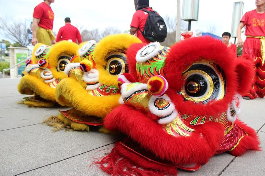 The lions costumes that the Wong Tai Sen Lion dance group used during their performance. Sau Ho, the teacher, said that the group has as many as 15 performances a day around this celebration.