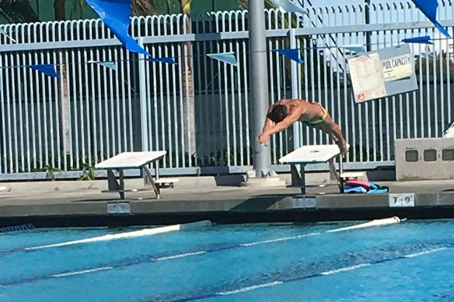 Daniel Loeza diving into the pool at practice. Loeza and the team are gearing up for their upcoming season. Photo credit: Briana Hicks