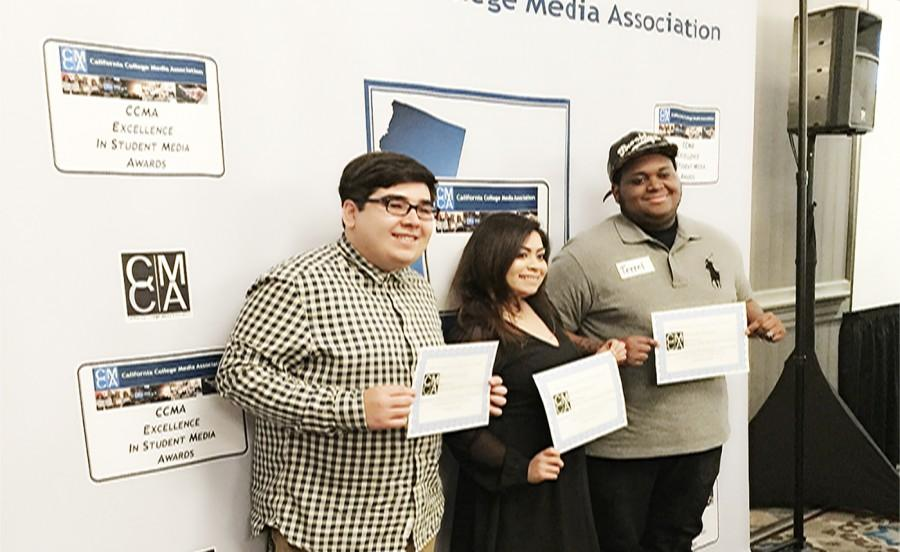 The+California+College+Media+Awards+presented+a+third+place+certificate+to+three+Talon+Marks+editors%2C+Grester+Celis-Acosta+%28Left%29%2C+Briana+Velarde+%28Middle%29%2C+and+Terrel+Emerson+%28Right%29+for+best+podcast.+The+students+discussed+a+new+hip-hop+album+that+had+just+been+released%2C+and+hope+to+follow+up+on+another+album+in+the+future.