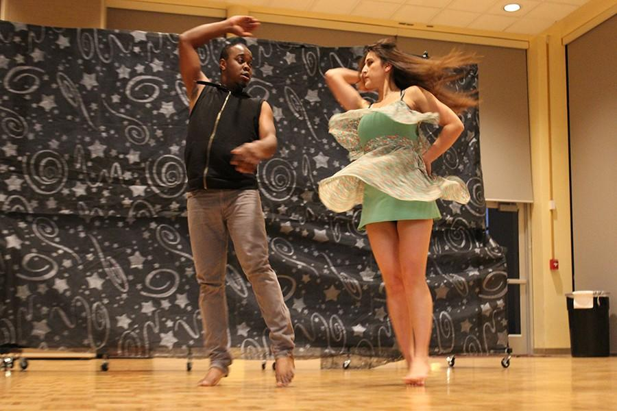 Broderick Woods and Erica Panduro perform an orignal dance number for the Club Adviser Reception. The two put together the dance number with the rest of the Dynamic Dance Club. Photo credit: Kristopher Carrasco