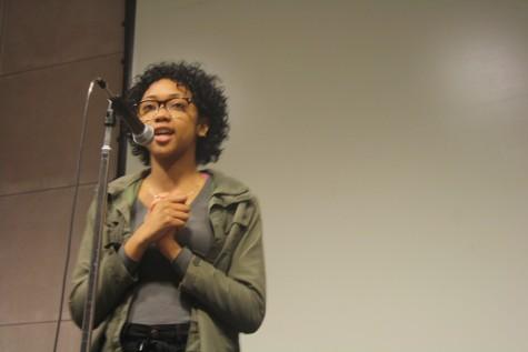 Negus hosting the BSU poetry slam.