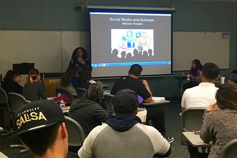 Women's studies professor Mariam Youssef, teaches students how activism now live through social media. She explained how social media has become so prominant in today's society that it plays a key roll movements.