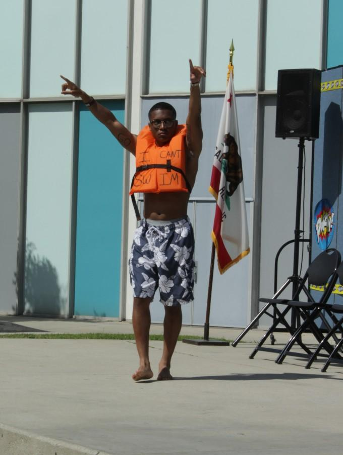 Trent Coates during the swim suit portion of the pageant. He was named Mr. Cerritos on Thursday, Mar. 10 at Falcon Square. Coates currently serves as the chief justice. Photo credit: Bianca Salgado