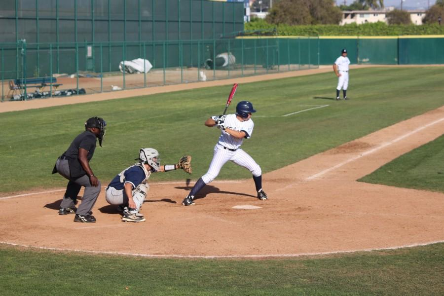 Mark Pena gets ready to swing away. Pena went 1-for-4 with his hit setting a new school record for hits in consecutive games. Photo credit: Taylor Ogata