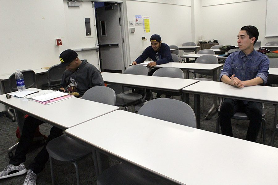 Students to portray as the decline in enrollment at Cerritos College. Enrollment has decreased 2 to 5 percent this semester. Photo credit: Bianca Salgado