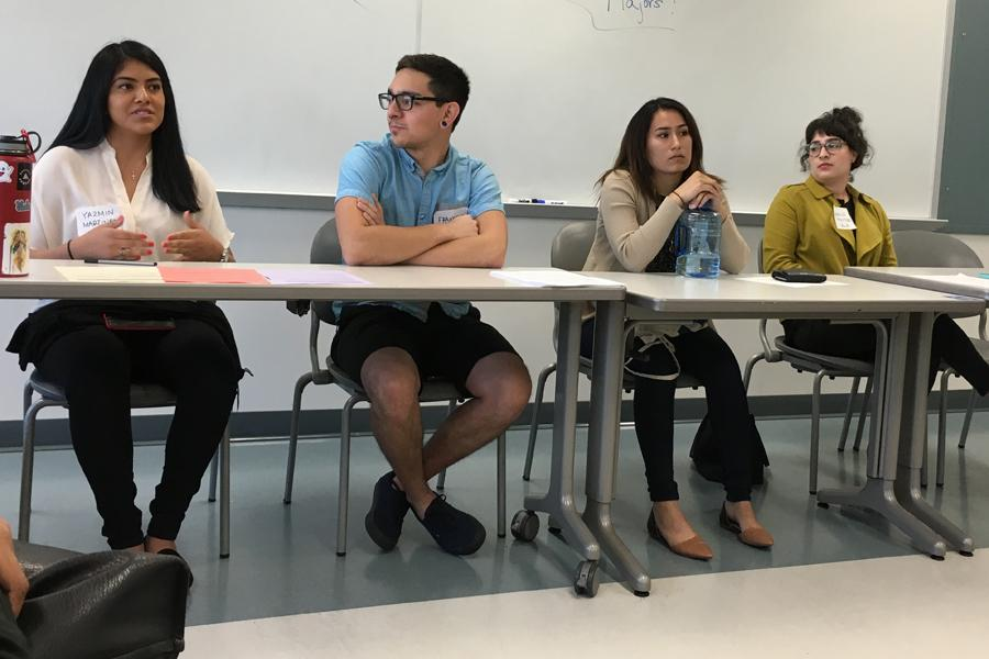 Cerritos to UCLA transfer students Yazmin Martinez, Francisco Mojica, Josephine Diaz, and Jessica Montoro all took part of the transfer student roundtable at Pyschology Day. The panelists are all pre-psychology majors.