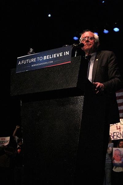 Senator and Presidential hopeful Bernie Sanders at the March 23 rally at The Wiltern in Koreatown. Actress Rosario Dawson introduced Sanders at the rally. Photo by Karla Enriquez