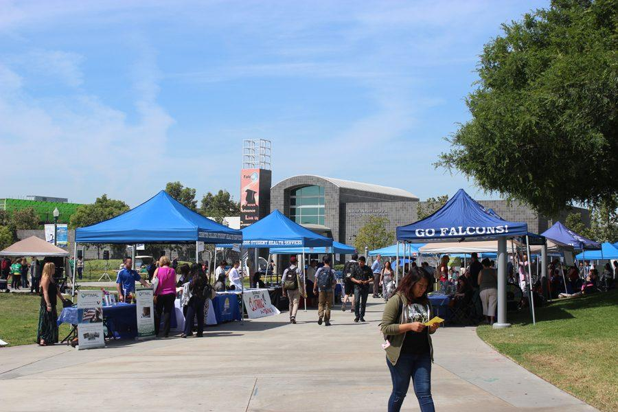 The Community Resource Fair took place on Thursday, April 21 in Falcon Square. Different resources to educate on services provided and how they can help students were presented for the Cerritos College community. Photo by: Tisha Lenon/ TM