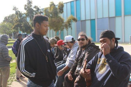 Commercial music major Jair Culberson (left) and former student Iese Maiava (right) perform an impromptu ukulele rap piece. The two have a musical chemistry together after playing music for so long.