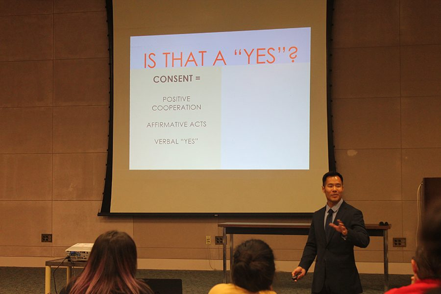 District Attorney Brian Soohoo gives a presentation about sexual awareness. This lecture is all part of sexual assault awareness month. Photo credit: Tisha Lenon