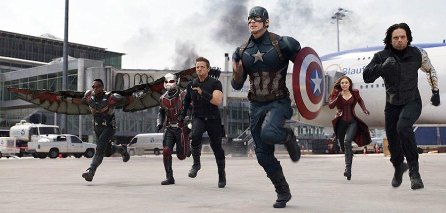 """Chris Evans, Elizabeth Olsen, Jeremy Renner, Paul Rudd, Anthony Mackie and Sebastian Stan in """"Captain America: Civil War."""" (Photo courtesy Marvel Studios/TNS)"""