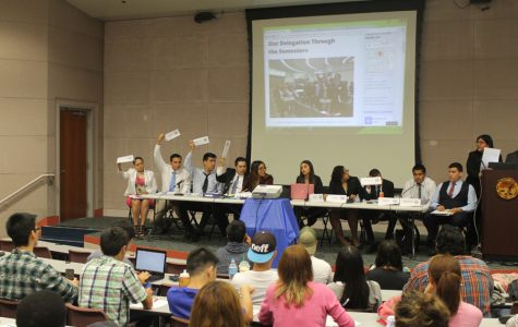 Cerritos College Model UN delegates motion to speak during the last simulation of the spring semester. Model UN participated in LAMUN Conference in April at Universal City. Photo by Tisha Lenon/TM