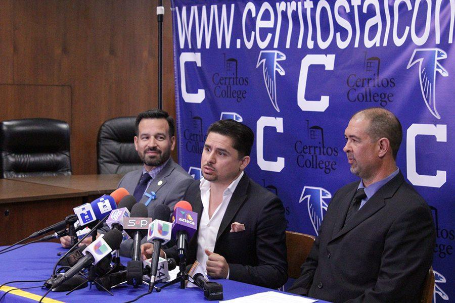 Mexican Regional Music Singer Larry Hernandez at the press conference at the Cheryl A. Epple Board Room announcing that he will be headlining the Summer Benefit Concert and Sports Festival. The benefit will take place from Friday, July 29-31. Photo credit: Karla Enriquez