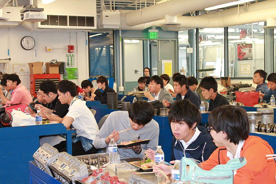 The students enjoy Japanese Bento for lunch. Student from Japan visited Cerritos to learn about the automotive program. Photo credit: Janel Oliver