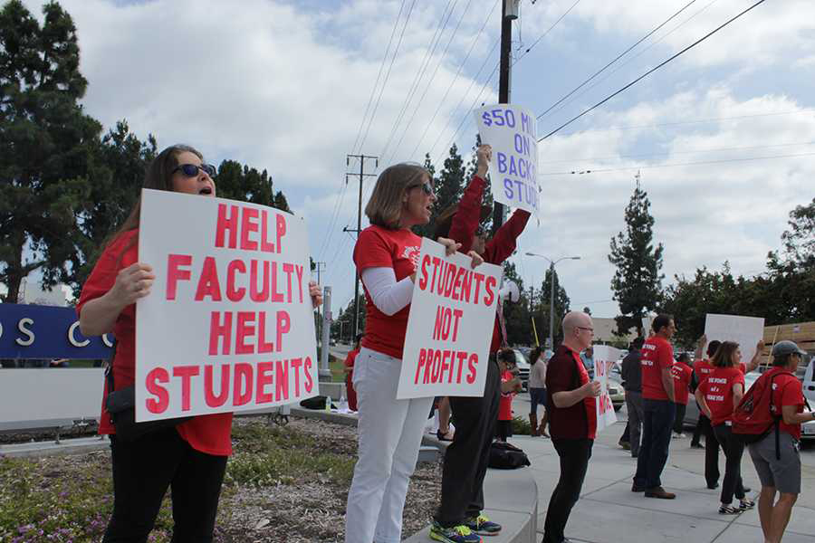 Faculty rallies at the Cerritos College Faculty Federation rally on Wednesday, May 4. Psychology Professor Lewellen and Business Professor Jerry Ramos were part of the rally. Photo credit: Karla Enriquez