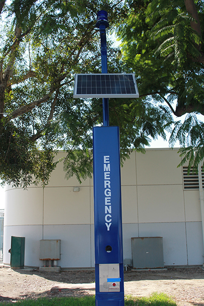 New blue emergency lights have been placed around the Cerritos College campus. These precautionary measures have been taken to ensure the safety of the students and the faculty on the campus.